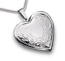 Medallón de Corazón con Cadena Acero Inox. para 2 Fotos Colgante con Estampación