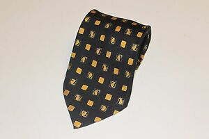 NWOT BRIONI Silk Handmade Tie, Made in Italy, Black and Gold Accents