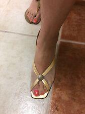 Vintage Escada Gold Tone Open Toe Sling Back Mid Heigh Heels Size 9.5