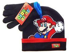 SUPER MARIO BROS NINTENDO Boys Black Knit Winter Beanie Hat & Gloves Set NWT $24