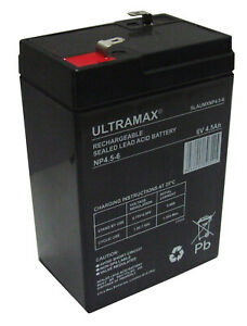 ULTRAMAX NP4.5-6 6V 4.5AH (4AH) - BATTERY-PEG,FEBER,PEREGO -TOY CAR BATTERY