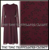 L.K.Bennett Celia Purple Ruby Floral Shift Knee Length Dress UK 14 42 10 RP £275