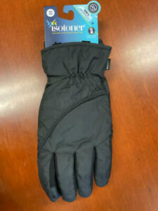 MSRP $58 Isotoner Signature Sleek Heat Waterproof Gloves Black Size Large