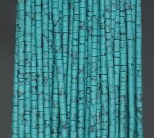 "3MM TURQUOISE GEMSTONE GREEN BLUE STRIPE ROUND TUBE HEISHI LOOSE BEADS 12.5"""