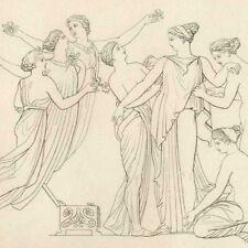 Toilette de Pandore  Mythologie Poésie Hésiode  John Flaxman gravure 19e