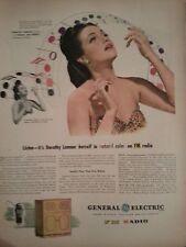 1945 General Electric FM Radio Dortothy Lamour Original Print Ad