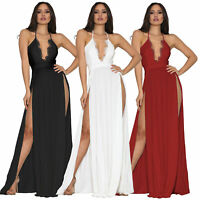 NEW Women Halter Deep V Neck Backless Side Slit Lace Cocktail Party Maxi Dress