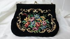 Vintage Black Needlepoint with Roses Small Purse