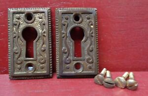 2 ANTIQUE STYLE NICE CAST BRASS KEYHOLE COVER WITH SCREWS