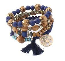 Blue & Perlas Pulsera Multi capa de madera con encanto de árbol de la vida & Blue Tassel