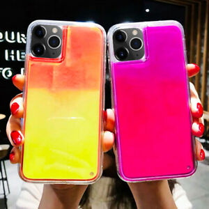 Glow Luminous Back Phone Case Glitter Dynamic Quicksand Liquid Neon Sand Cover