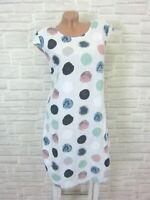 NEU ITALY Sommerkleid Hängerchen Tunika Kleid LEINEN Mix 38 40 42 Weiß K331
