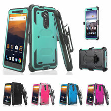 ZTE Max XL/Blue, Blade Max 3 Rugged Built-in Screen Protector Holster Case Cover
