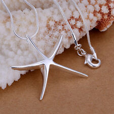 Wholesale 925Sterling Silver Large Smooth Starish Pendant Women Necklace PP027