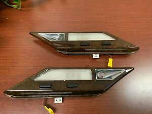 1995-2001 BMW E38 7-Series 750 Rear Interior Map Reading Lights w Wood USED OEM