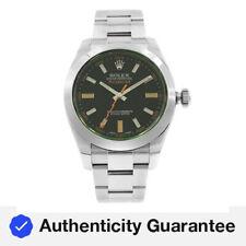 Rolex Milgauss Verde Cristal Reloj de Hombre con dial negro de mano naranja 116400GV