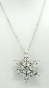 """Dainty 925 Sterling Silver Clear Topaz Snowflake Star Pendant Necklace 19"""" TL"""