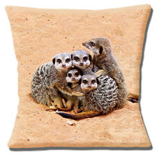 Cute Meerkat Cushion Cover 16x16 inch 40cm Photo Print Family Animals Cuddling