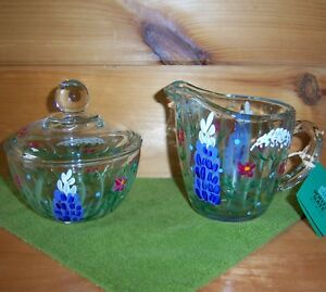White Gate Glass Boyd&Doyle SET SUGAR & CREAMER Painted LUPINE Wildflower Clear
