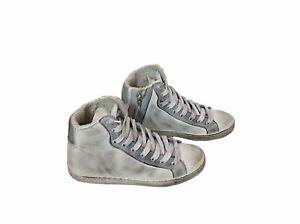 scarpe sneakers alte uomo donna pelle bianco ghiaccio sfumato Via Condotti nuovo