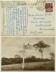 GOLD COAST TAMALE 1933 PPC SIGNPOST MAMPON GREAT NORTH ROAD ASHANTI