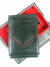 Guess Men's Front Pocket ID Wallet Magnetic Money Clip Black Red 31GO160003 $42