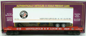 MTH 20-98130 O Minneapolis & St. Louis Flatcar w/Trailer LN/Box