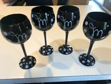 "SET/4 HAND PAINTED POLKA DOT BLACK GLASS WINE GOBLETS 8 3/4"" Monogrammed with M"
