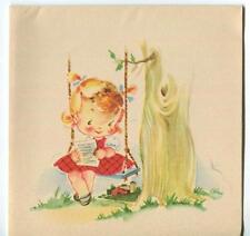 VINTAGE CUTE GIRL CHILD BLONDE RED DRESS PARASOL TREE SWING RED BARN CARD PRINT
