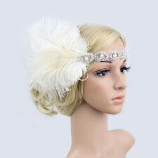 Retro Feather 1920s Flapper Headpiece Great Gatsby Head Hair Band Fancy Dress