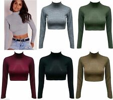NEW Girls  Knitted Stretch Long Sleeve Turtle Polo Neck Crop Top T Shirt 6-12