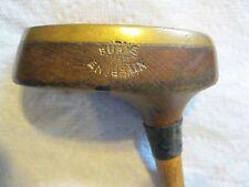 "Antique Wood Shaft Burke Endgrain Wood Mallet Head Putter 34"" Circa 1925"