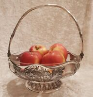Antik JUGENDSTIL Obst Fuss Schale VERSILBERT Glas Jardiniere Tafelaufsatz 1900