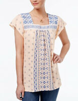 Style &co. Women's  Mixed Print Mesh Bib Relaxed Fit Top Blouse MSRP: $44.50