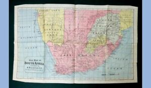 """1899 antique FOLDING WAR MAP OF SOUTH AFRICA s.b.linton 24.75""""x15.5"""" ~CLEAN!"""