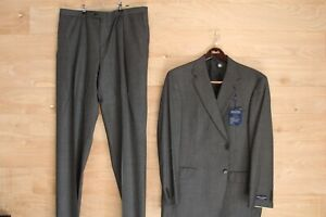 Daniel Cremieux Collection Lora Piana Gray Wool Dress Suit 46 R 40 W NWT