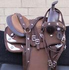 HORSE PONY SADDLE WESTERN USED TRAIL BARREL YOUTH SYNTHETIC TACK SET 10 12 13