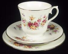 Queen Anne Yellow & Dark Pink/Red Roses Bone China Cup/Saucer/Plate Trio