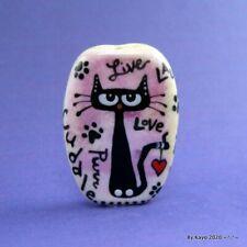 """LIVE, LAUGH, PURR"" a handmade lampwork glass CAT pendant focal bead byKayo SRA"