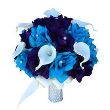 "10"" Large Bridal bouquet - Malibu,Purple,Ivory Rose calla lily silk flower"