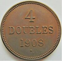 1908 H GUERNSEY 4 Doubles, Lustrous tan, grading UNCIRCULATED.