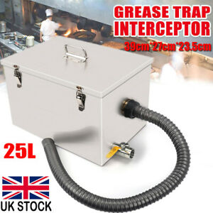 25L Large Grease Trap Interceptor Wastewater Waster Kitchen Commercial Tool UK