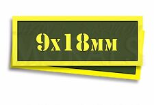 """9x18mm Ammo Can Labels for Ammunition Case 3"""" x 1"""" stickers decals 2 PACK -AG"""