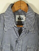 Vintage Woolrich Cotton Flannel Shirt Men's Sz S Blue White Gingham Check Plaid
