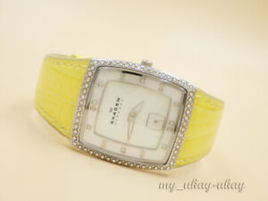 SKAGEN 384SSLYSA Crystal Mother Of Pearl Dial Yellow Leather Band Ladies Watch