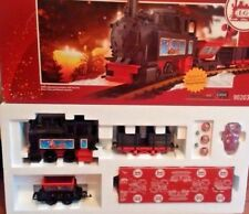 $260 LGB G Scale 90203 Christmas Starter Set: Locomotive, Two Cars, Brass Tracks