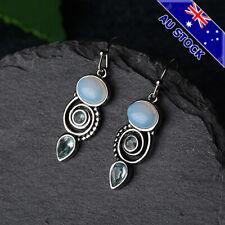 Boho 925 Silver Plated Natural Moonstone Spiral Tear Drop Dangly Hook Earrings