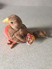EUC TY Beanie Original Baby Babies EARLY Red Breast Robin Bird + Tags Error 1997