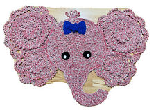 Elephant Rug Mat Crochet Pink Nursery Baby Decor Jungle Blue Bow_New-Handmade