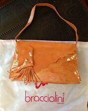 BRACCIALINI italian python print orange leather/suede handbag trendy boa tassel
